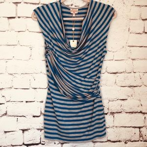 Plenty by Tracy Reese NWT Draped Cowl Stripe Tee S